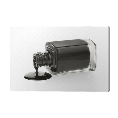 Black Nail Polish Spilled On White Clipping Path Canvas