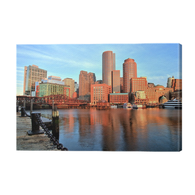 Boston Skyline With Financial District Boston Harbor At