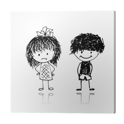Boy And Girl Sketch For Your Design Canvas Print Pixers We Live To Change