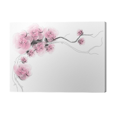 Dog Rose Flowers Background Realistic Sketch Not Auto Traced Canvas Print Pixers We Live To Change