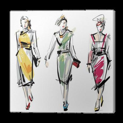 Fashion Models Sketch Canvas Print Pixers We Live To Change