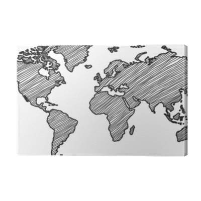 Freehand World Map Sketch On White Background Canvas Print Pixers We Live To Change