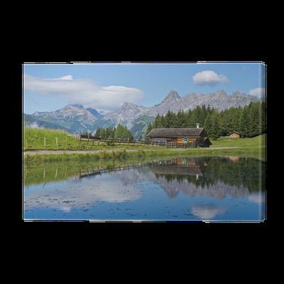 haus in den bergen canvas print pixers we live to change. Black Bedroom Furniture Sets. Home Design Ideas