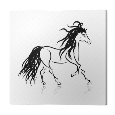 Horse Sketch For Your Design Symbol Of 2014 Year Canvas Print Pixers We Live To Change