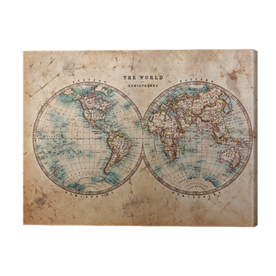 Old world map in hemispheres canvas print pixers we live to change gumiabroncs Gallery
