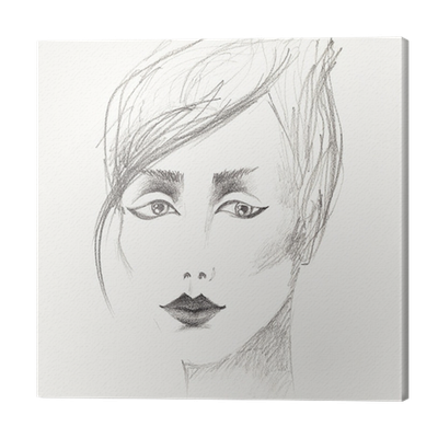 Pencil Sketch Of Beautiful Woman S Face Canvas Print Pixers We Live To Change