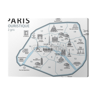 Plan touristique paris monuments france set 3 canvas for Paris carte touristique