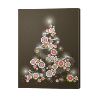 Retro Circle Pink Green Christmas Tree Canvas Print Pixers We Live To Change
