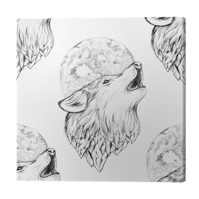 Seamless Drawing Of A Wolf Howling At The Moon On A White Background Canvas Print Pixers We Live To Change