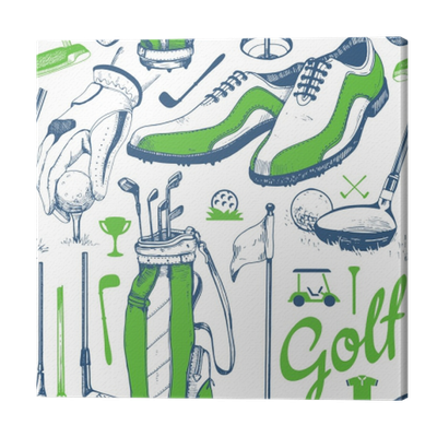 Seamless Golf Pattern With Basket Shoes Car Putter Ball Gloves Flag Bag Vector Set Of Hand Drawn Sports Equipment Illustration In Sketch Style On White Background Canvas Print Pixers We Live