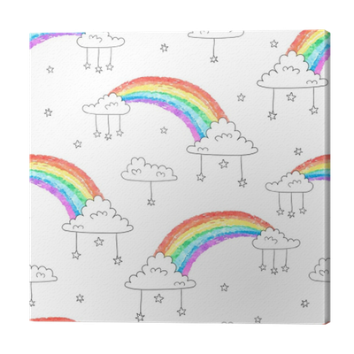 Seamless Pattern With Cartoon Rainbows And Clouds Colorful Vector Sky Background Canvas Print Pixers We Live To Change