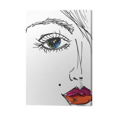 Sketch Of Beautiful Woman Face Vector Illustration Canvas Print Pixers We Live To Change