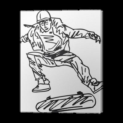 Sketch Of Skateboard Boy Vector Illustration Canvas Print Pixers We Live To Change