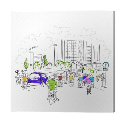 Sketch Of Traffic Road In Asian City With Motorbikes For Your Canvas Print Pixers We Live To Change