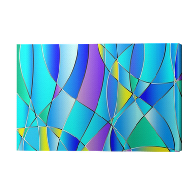Stained glass texture, blue tone, background vector Canvas ...
