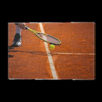 Terrain de tennis, raquette et balle jaune Canvas Print • Pixers ...