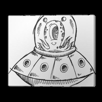 Ufo Alien Sketch Doodle Illustration Art Canvas Print Pixers We Live To Change