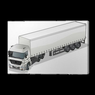 Vector Cargo Semi Truck Canvas Print Pixers We Live To Change