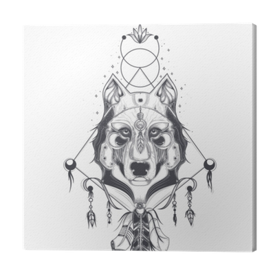 Vector Illustration Of A Front View Of A Wolf Head Geometric Sketch Of A Tattoo Print Abstract Ethnic Tribal Pattern Canvas Print Pixers We Live To Change