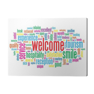 Welcome tag cloud customer service greetings smile card sign welcome tag cloud customer service greetings smile card sign canvas print pixers we live to change m4hsunfo
