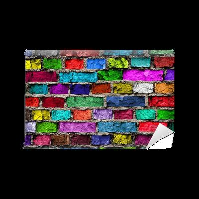 Carta da parati arcobaleno muro di mattoni colorati for Carta da parati muro mattoni