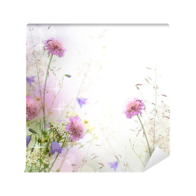 Carta Da Parati Bella Pastello Bordo Floreale Sfondo Sfocato