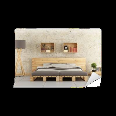 Carta da parati camera da letto moderna con letto pallet sul muro di mattoni pixers viviamo - Carta da parati moderna camera da letto ...