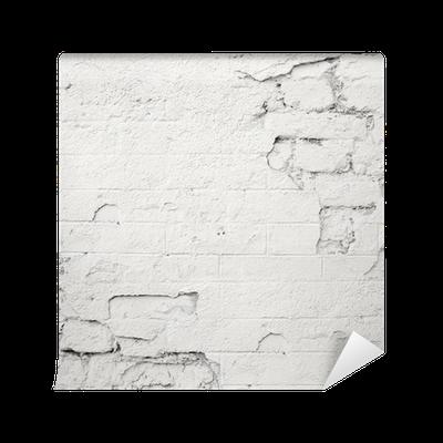 Carta da parati danneggiato muro di mattoni bianchi for Carta da parati muro di mattoni