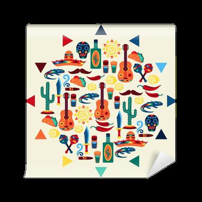 Carta da parati etnica disegno di sfondo messicano in for Carta da parati etnica