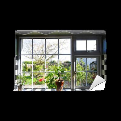 Carta da parati finestra della cucina con la vista sul giardino pixers viviamo per il - La finestra sul giardino ...