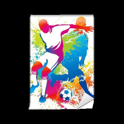Carta da parati giocatori di calcio con un pallone da - Pagina da colorare di un pallone da calcio ...