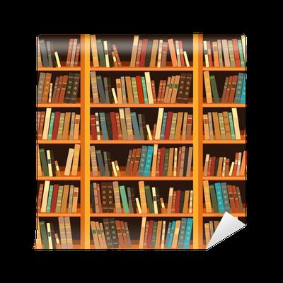 Carta da parati grande libreria con libri diversi pixers for Carta da parati libri