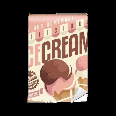 Carta da parati retro gelato targa in metallo concetto di for Concetto di design moderno bungalow