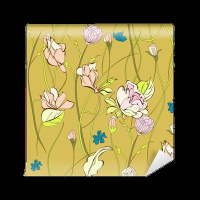 Carta da parati seamless pattern con fiori decorativi for Carte parati decorative