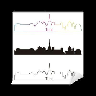 Carta da parati stile lineare skyline di torino con for Carta parati torino