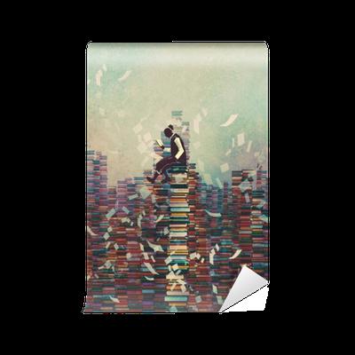 Carta da parati uomo lettura libro mentre seduto su una for Carta da parati libri