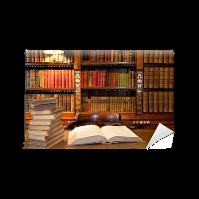 Carta da parati vecchio classico biblioteca con libri sul for Carta parati libri