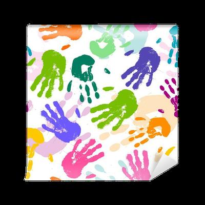 fbdeac8ae8 Carta da Parati Vector seamless con stampe colorate a mano • Pixers® -  Viviamo per il cambiamento