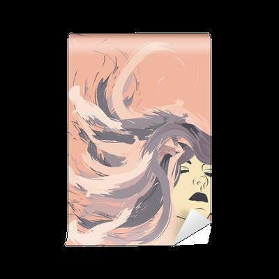 Carta da Parati Volto di donna con i capelli lunghi ...