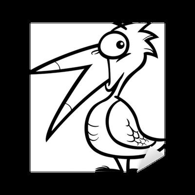 Boyama Kitabı Için Küçük Kuş Karikatür çıkartması Pixerstick