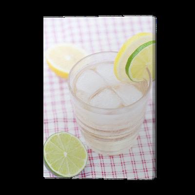 Cuadro En Lienzo Agua Con Limón Y Lima En Un Vaso Con Hielo Pixers