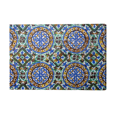 Cuadro en lienzo azulejos mosaico detalle arte isl mico for Azulejos pvc autoadhesivos