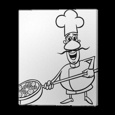 Cuadro En Lienzo Cocinero Italiano Página Para Colorear De Dibujos Animados Pixers Vivimos Para Cambiar