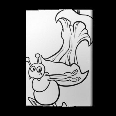 Cuadro en Lienzo Hormiga con manzana página núcleo colorear • Pixers ...