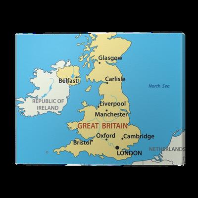 Cuadro en Lienzo Ilustración vectorial - mapa del Reino Unido de ...
