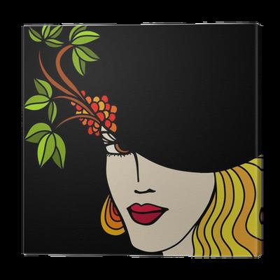 Cuadro en Lienzo Mujer con sombrero sobre un fondo negro • Pixers® -  Vivimos para cambiar 385a1680710
