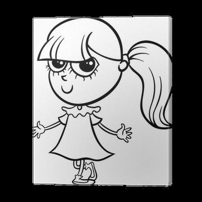 Cuadro en Lienzo Página para colorear de dibujos animados linda ...