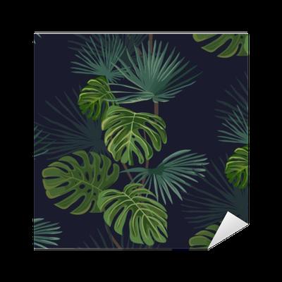 Pixerstick Dekor Seamless tropiska blad. Handritad bakgrund.