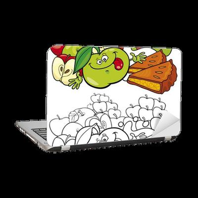 Boyama Elma Ve Pasta Dizüstü Bilgisayar çıkartması Pixers Haydi