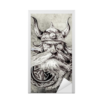 Tattoo Art Sketch Of A Viking Warrior Illustration Of An Ancie Door Sticker Pixers We Live To Change